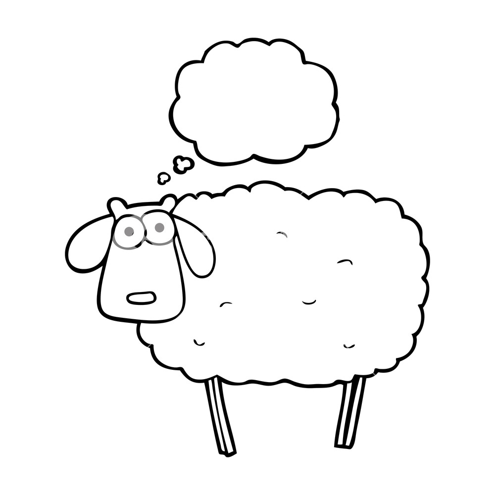 1000x1000 Freehand Drawn Thought Bubble Cartoon Muddy Sheep Royalty Free