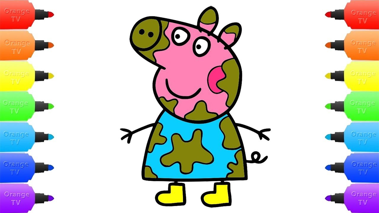 1280x720 how to draw peppa pig muddy puddles for baby