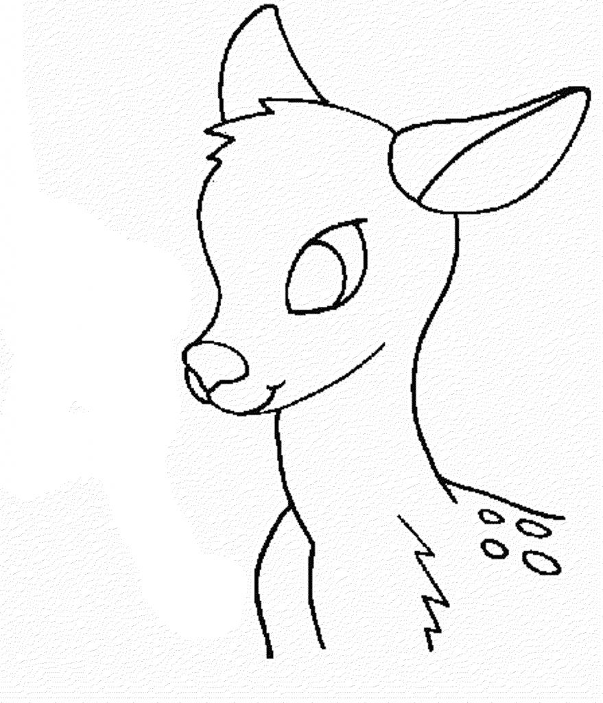 879x1024 Simple Deer Drawing