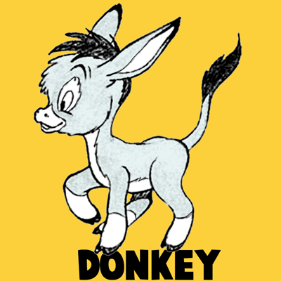 400x400 How To Draw Cartoon Donkeys Or Mules In Easy Step