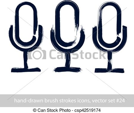 450x381 set of hand drawn microphone icons, brush drawing multimedia signs