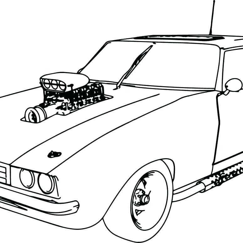 775x775 Muscle Car Coloring Pages