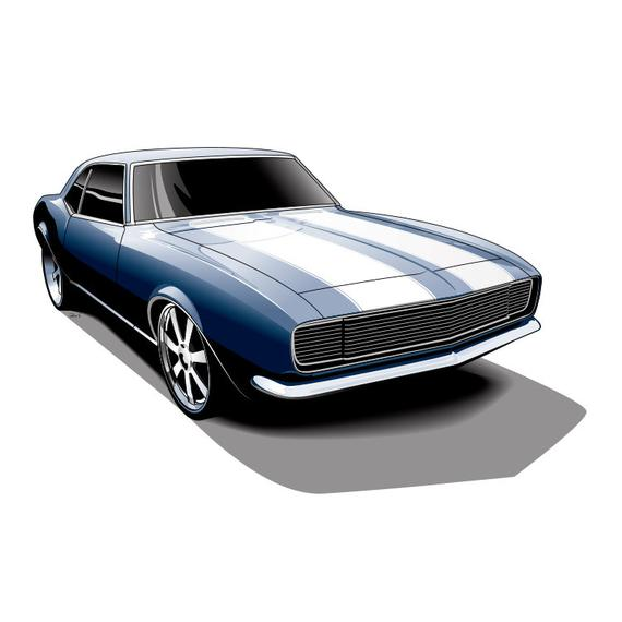 570x570 Camaro, Muscle Car, Car Drawing, Unique Gift For Men, Print