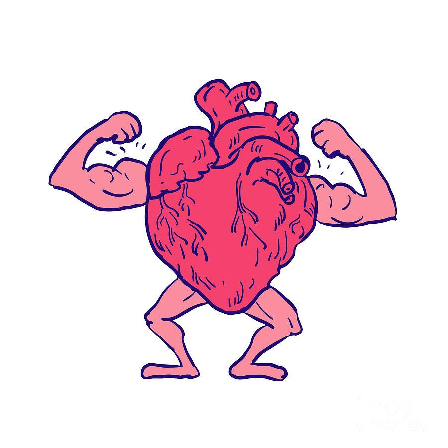 900x900 Healthy Heart Flexing Muscle Drawing Digital Art