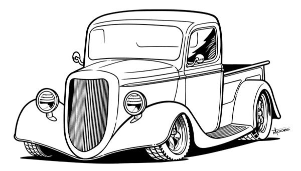 600x342 Classic Muscle Drawing Clipart Best, Old Truck Coloring Pages
