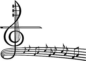 300x216 music staff decal, violin fancy decal, music ntes decals, staff