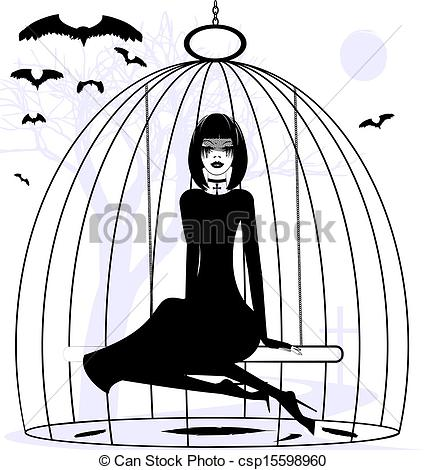 426x470 lady raven black and white mystical fantasy girl raven in a cage