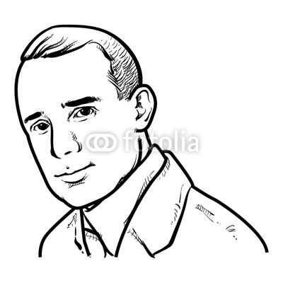 400x400 napoleon hill vector illustration, napoleon hill drawing outline