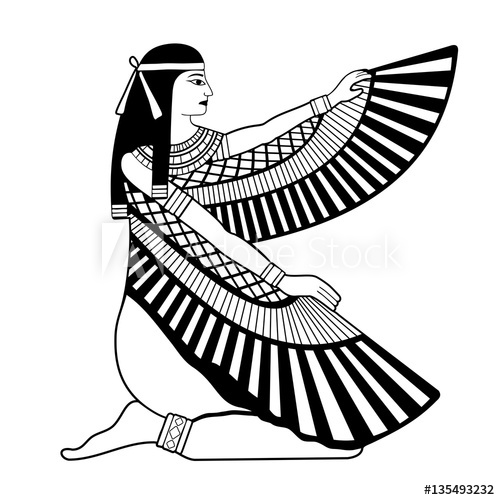 500x500 Vector Illustration Of Egyptian National Drawing Goddess Isis