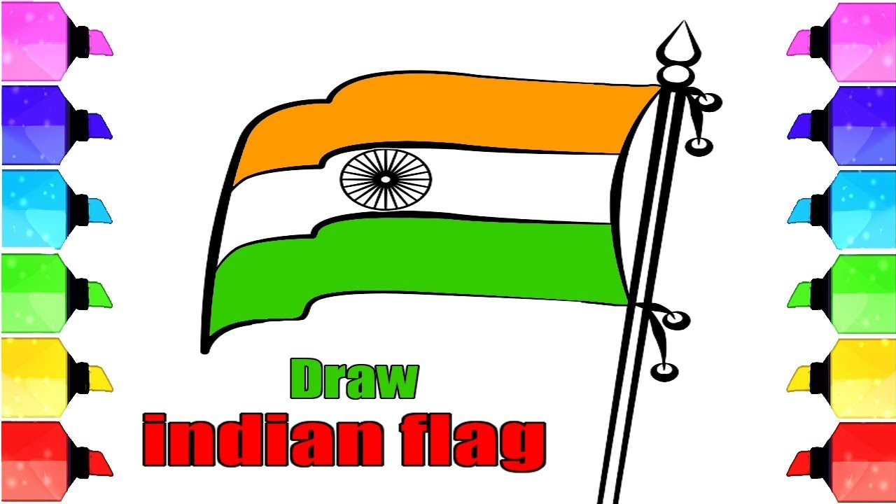 1280x720 Indian Flag Drawing