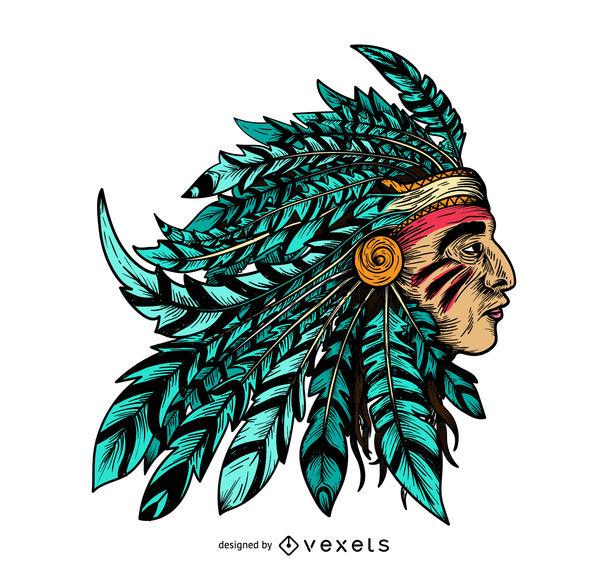 608x570 Native American Chief Illustration