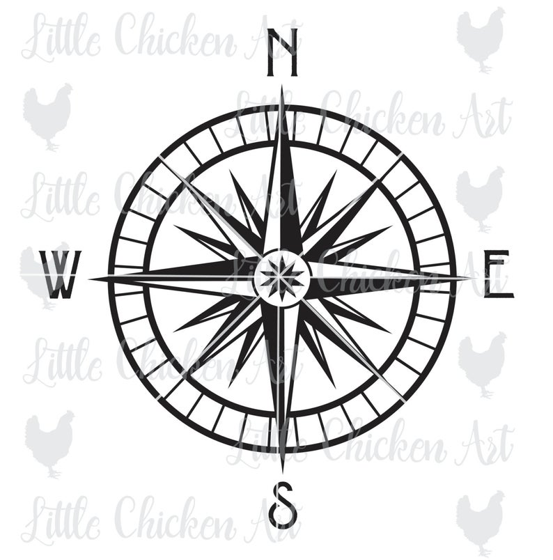 794x804 Nautical Compass Clip Art Silhouette Etsy