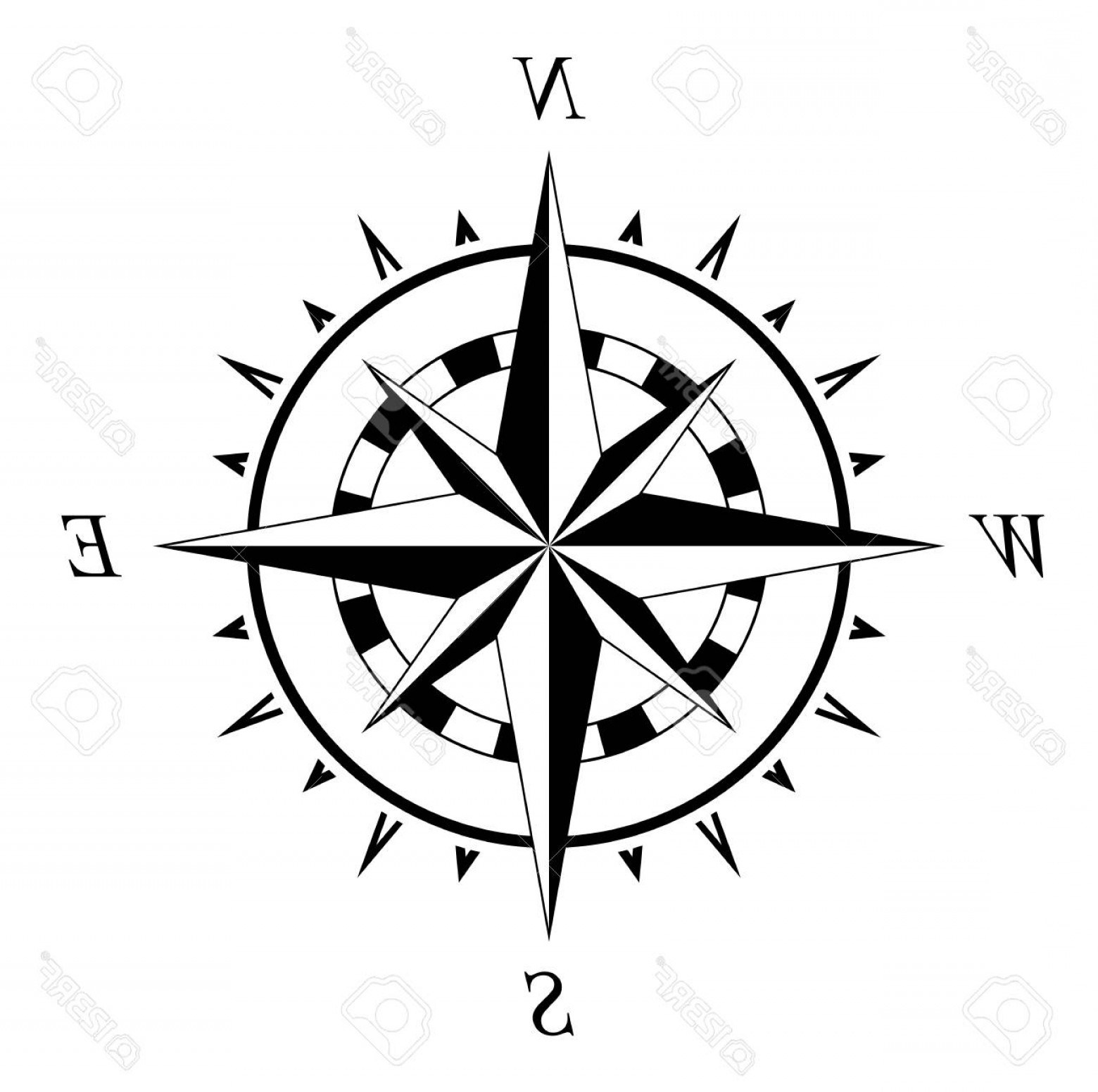1560x1551 Photostock Vector Compass Rose Marine Navigation Illustration