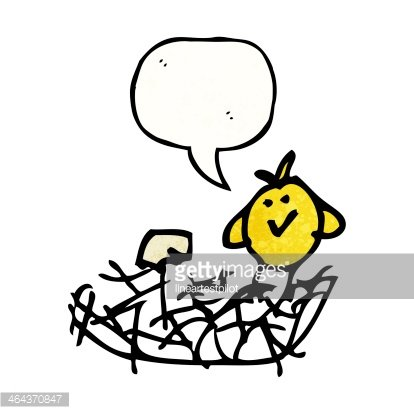 414x414 Chid's Drawing Of A Bird In Nest Premium Clipart