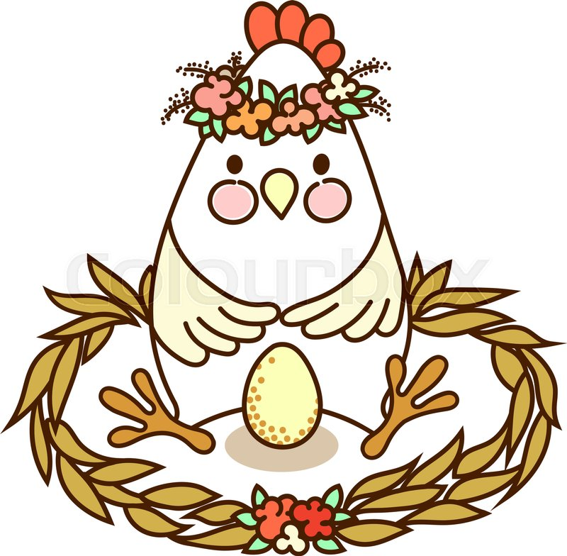 800x784 Cute Chicken With Egg Sitting In The Stock Vector Colourbox