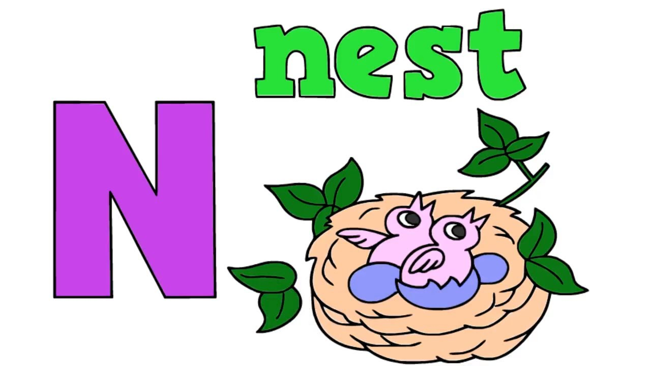 1280x720 the alphabet letter n nest drawing for kids n is for nest