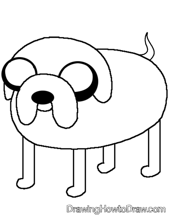 597x772 How To Draw Jake The Dog From Adventure Time On Cartoon Network
