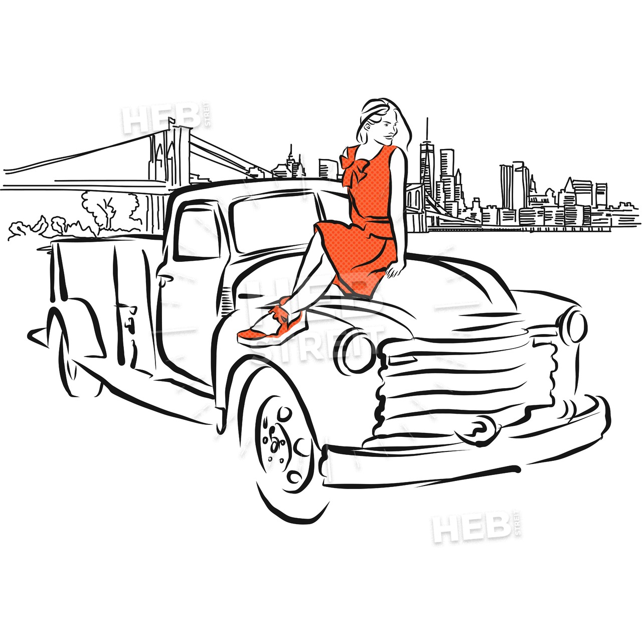 1280x1280 Girl On Car In Front Of New York City Panorama Hebstreits Sketches