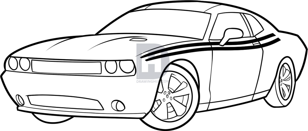 1080x462 How To Draw A Dodge Challenger, Step