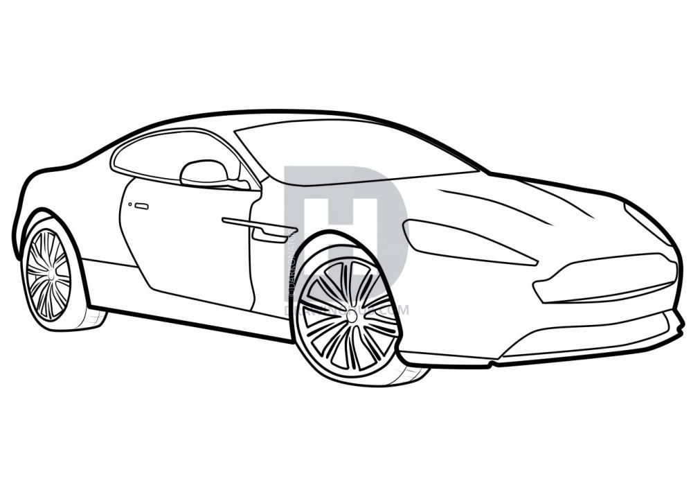 1011x720 How To Draw An Aston Martin, Aston Martin Virage, Step