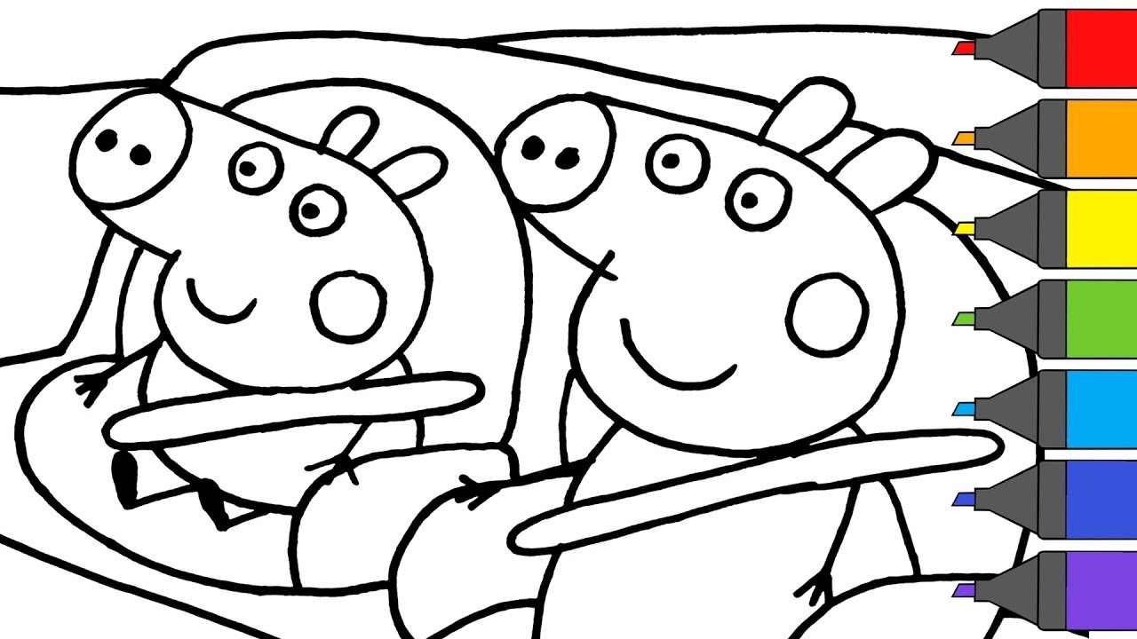 1280x720 Peppa Pig George In The Car Coloring