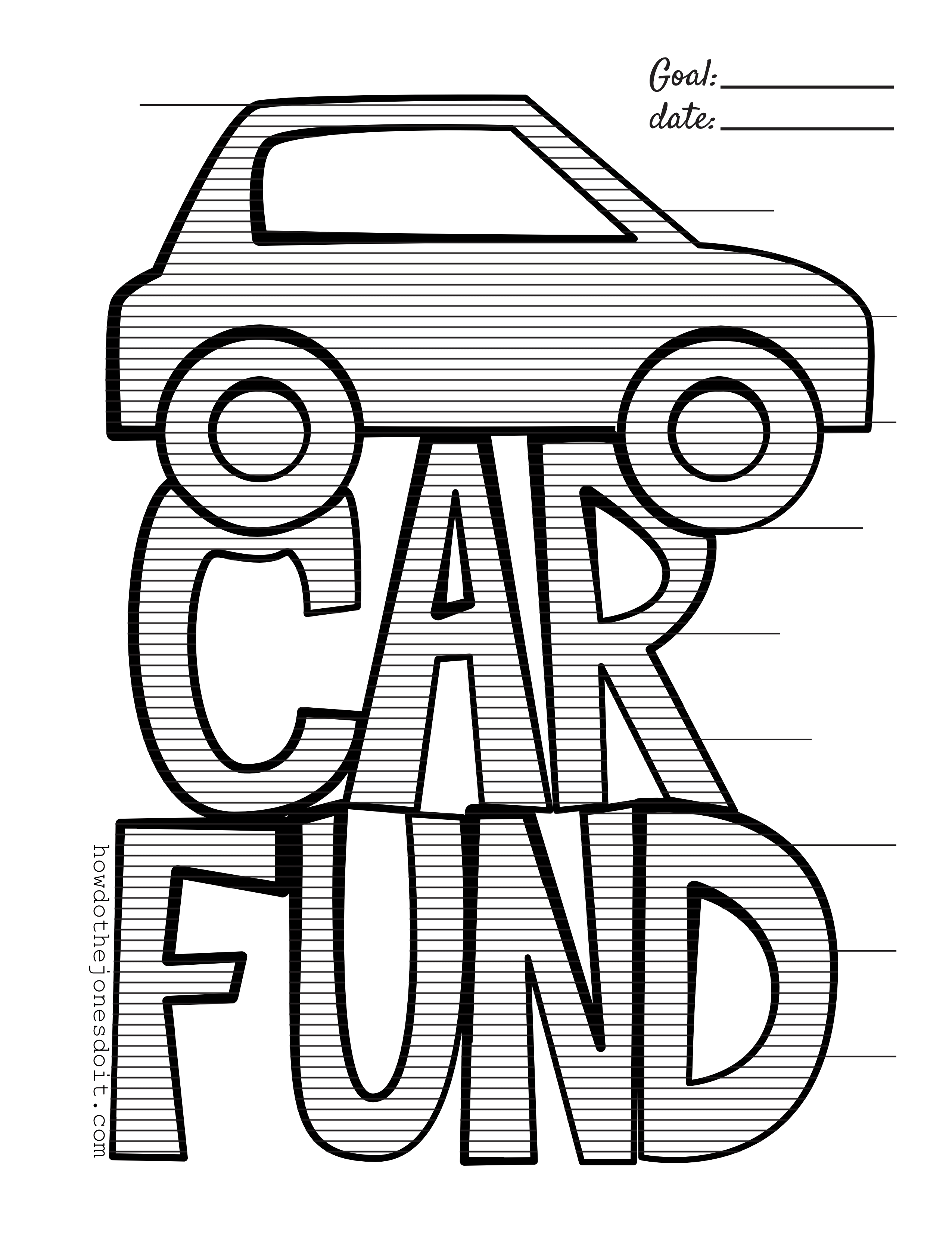 2550x3300 Car Fund Chart For Your New Car!