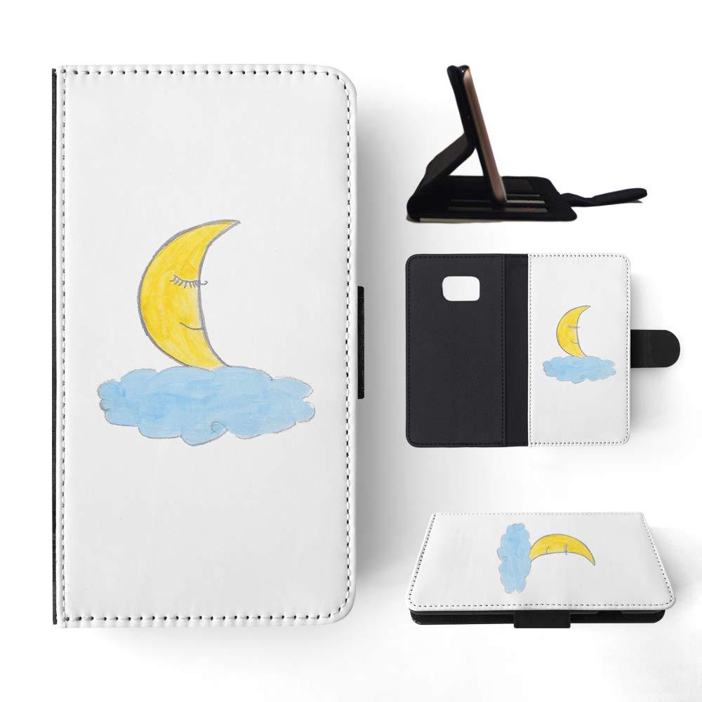 1000x1000 Cute Moon Sketch Art Drawing Flip Wallet Phone Case