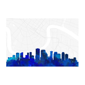 300x300 New Orleans Cityscape And Streetmap Blue Skyline Digital Art