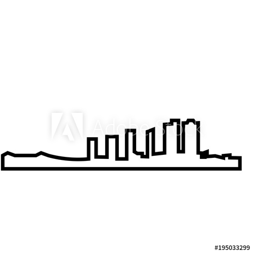 500x500 New Orleans Skyline Silhouette Outline On White Background