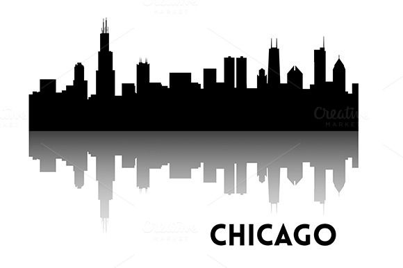 580x386 Chicago Skyline Silhouette Illustrations