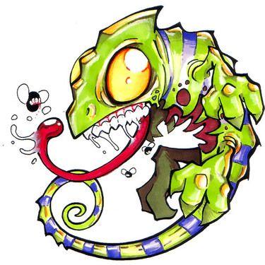 375x375 Funny New School Chameleon Tattoo Design Doodles Tattoo
