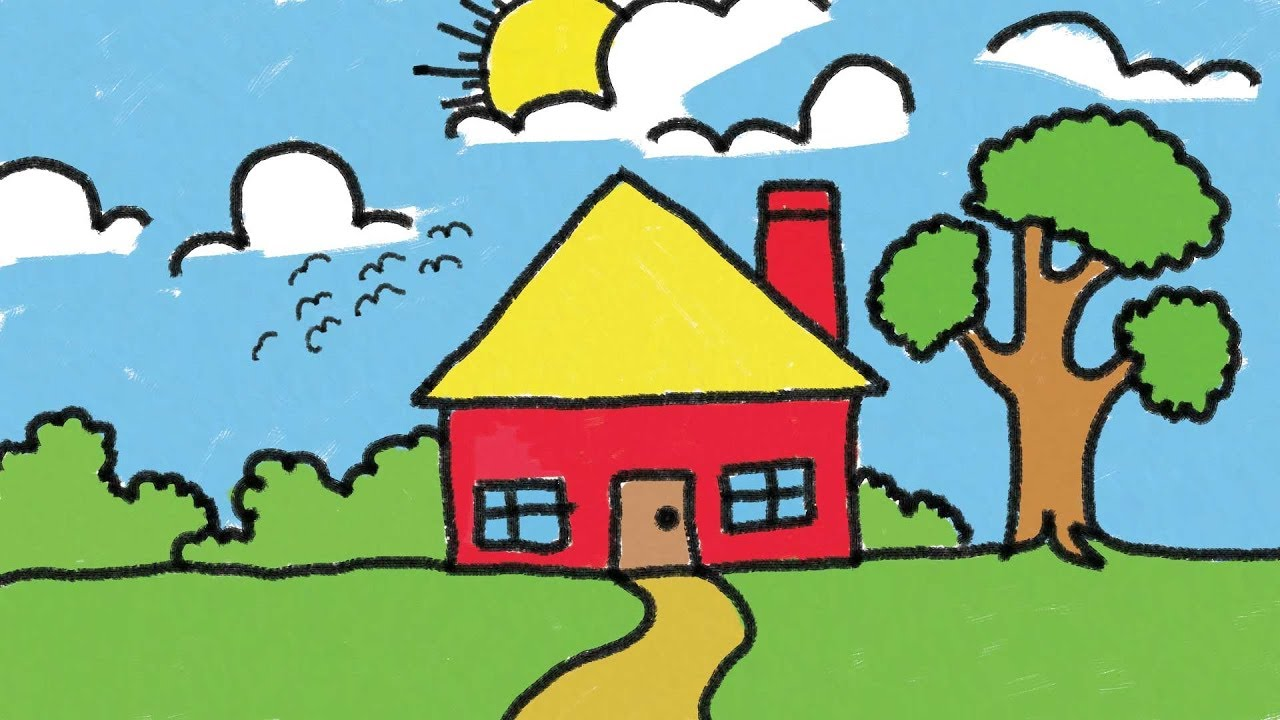 1280x720 Simple House Drawing For Kids Step