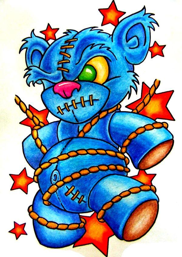 600x847 Cool New School Teddy Bear Tattoo Flash Love!!!!!!!!! Tattoos