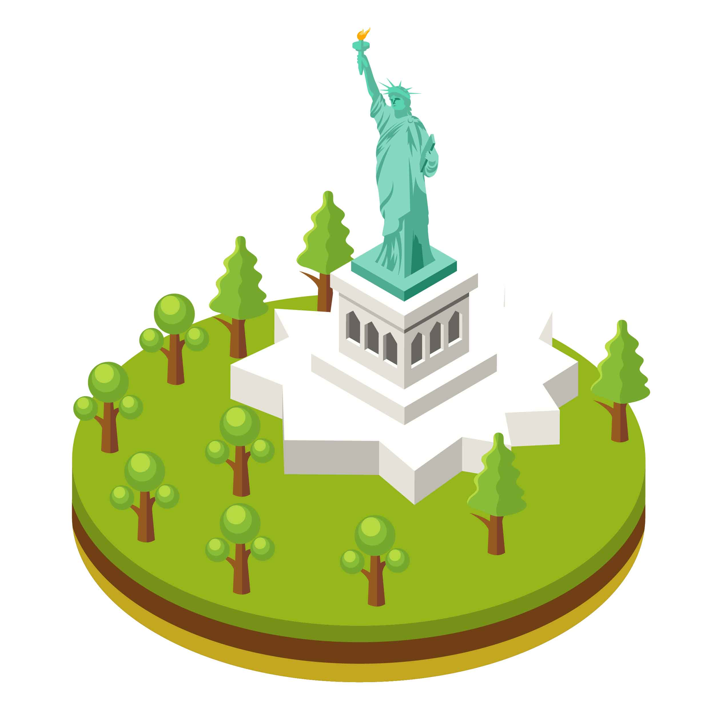 2480x2480 Isometric Liberty Statue In New York City