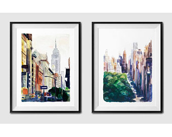 340x270 New York Watercolor Etsy