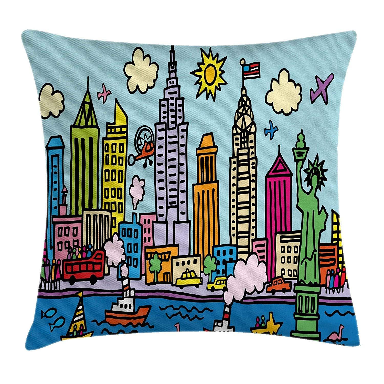 1500x1500 Playroom Decor Throw Pillow Cushion Cover, New York City