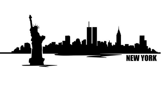 551x318 Skyline Drawing New York Color