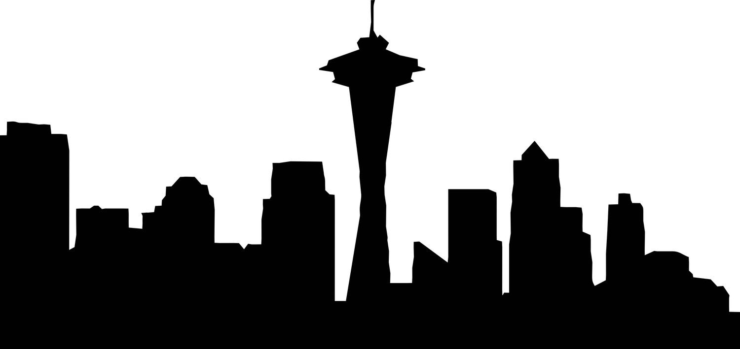 1500x709 Cityscape Drawing Skyline Seattle For Free Download