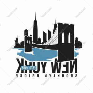 300x300 Stock Illustration New York Panorama Brooklyn Bridge Vector
