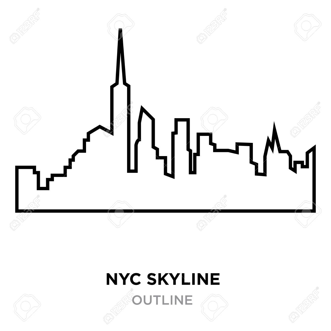 1300x1300 Coloring Pages Nyc Skyline Outline New York City Architecture
