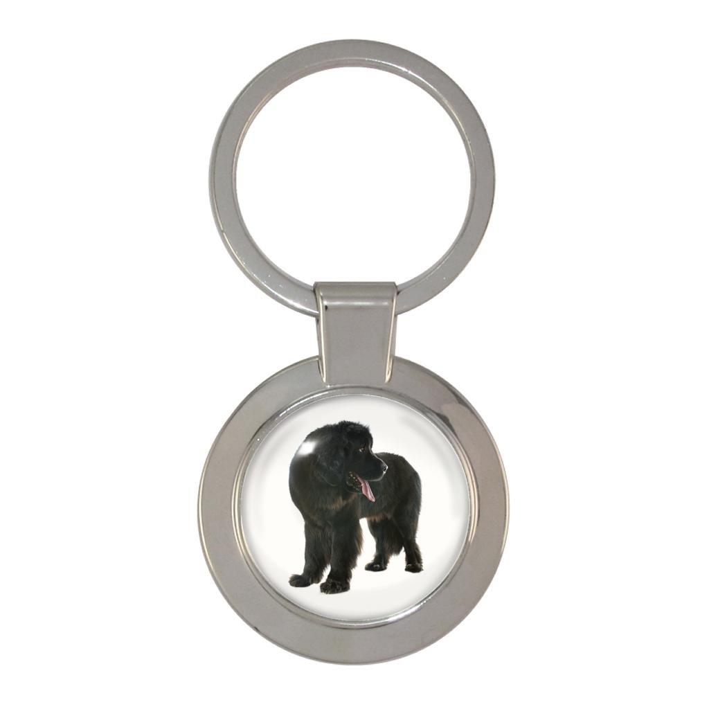 1024x1024 newfoundland dog image metal chunky keyring in gift