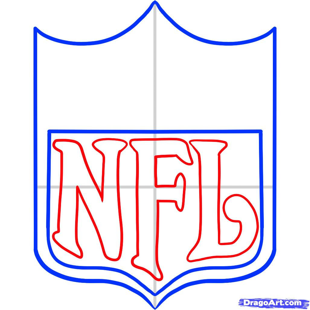 1027x1027 how to draw nfl, nfl logo, step