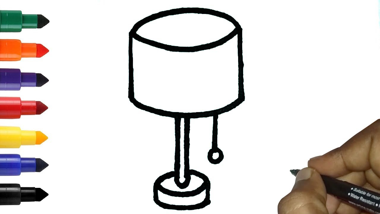 1280x720 how to draw table lamp or night lamp in easy easy lamp drawing