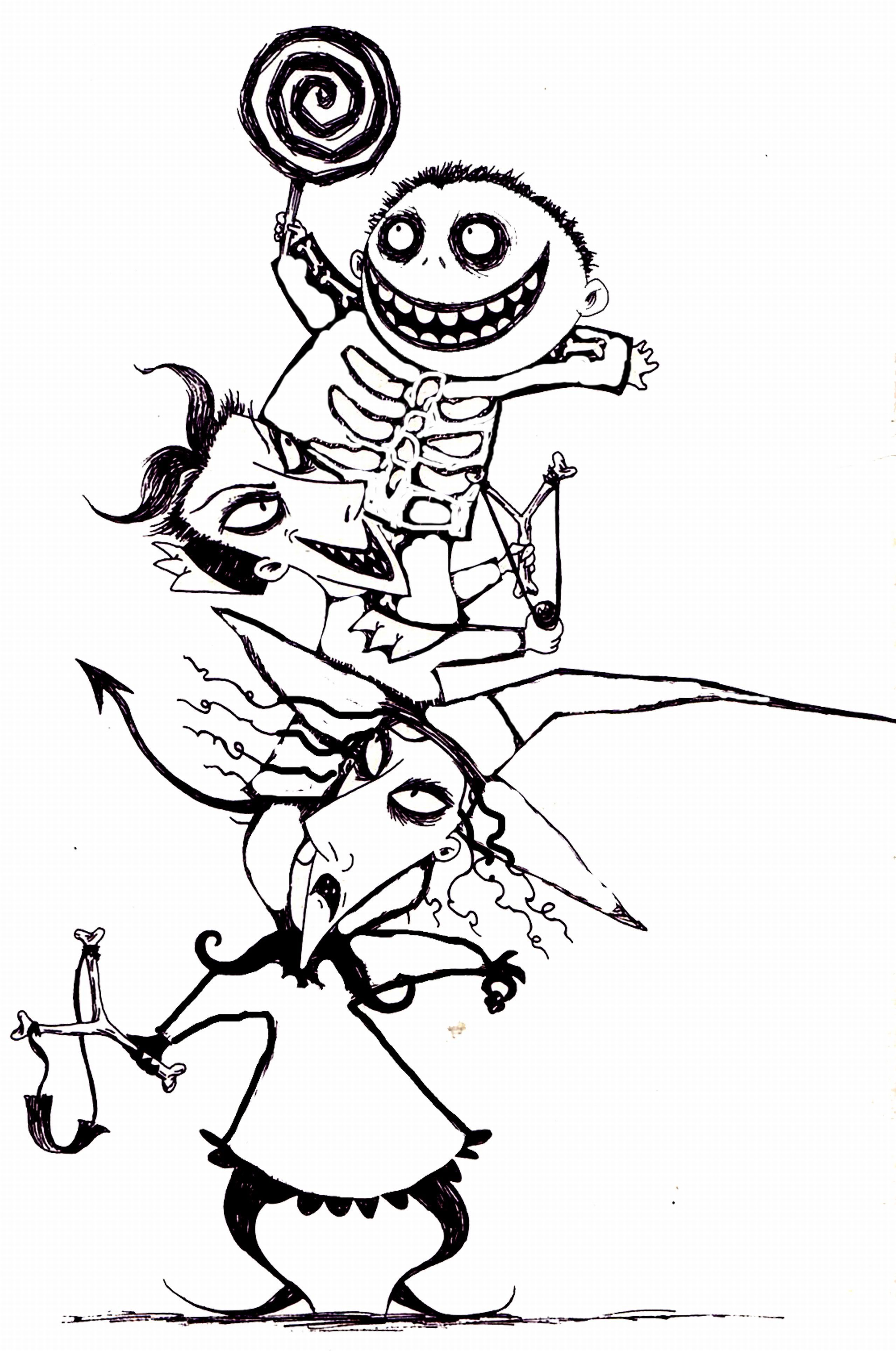 2558x3856 Collage Drawing Nightmare Before Christmas For Free Download