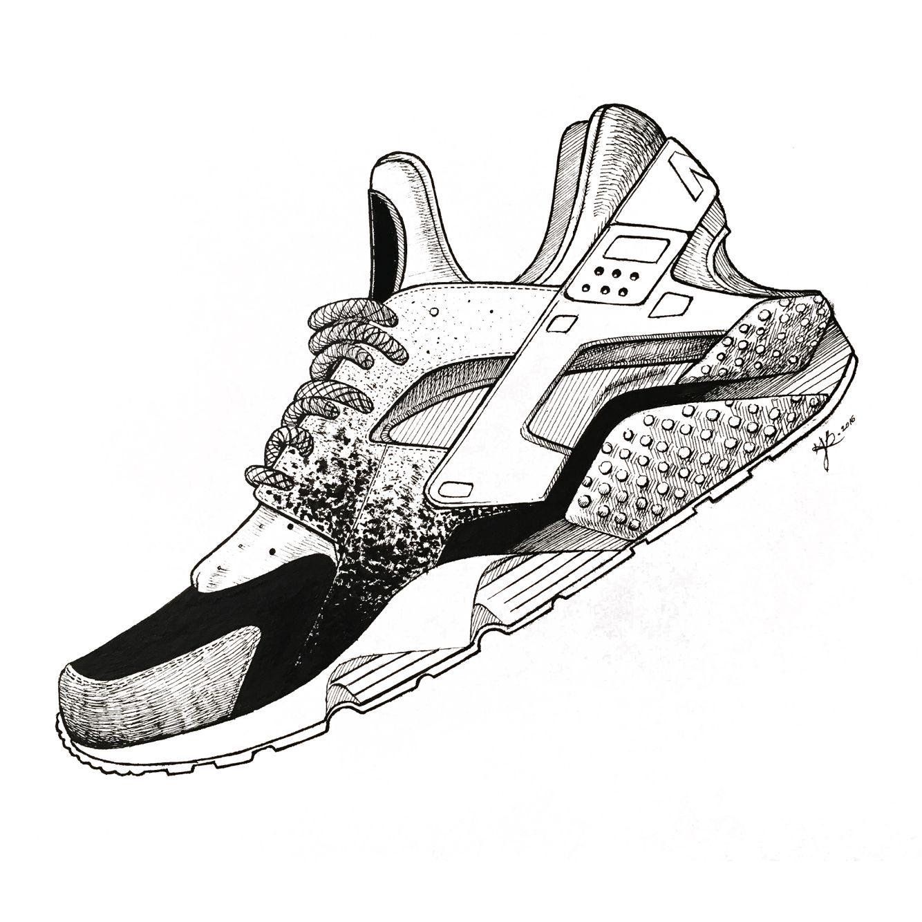 1334x1334 sneaker illustration nike hurache sneaker