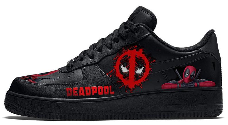 319bc54bb9 670x309 Created Vector Illustrations Of Shoe Templates For Use. 794x436  Deadpool Custom Nike Air Force Black Leather Sneakers Etsy