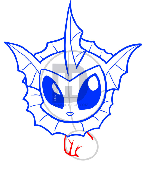 589x720 How To Draw Chibi Vaporeon, Chibi Vaporeon, Step