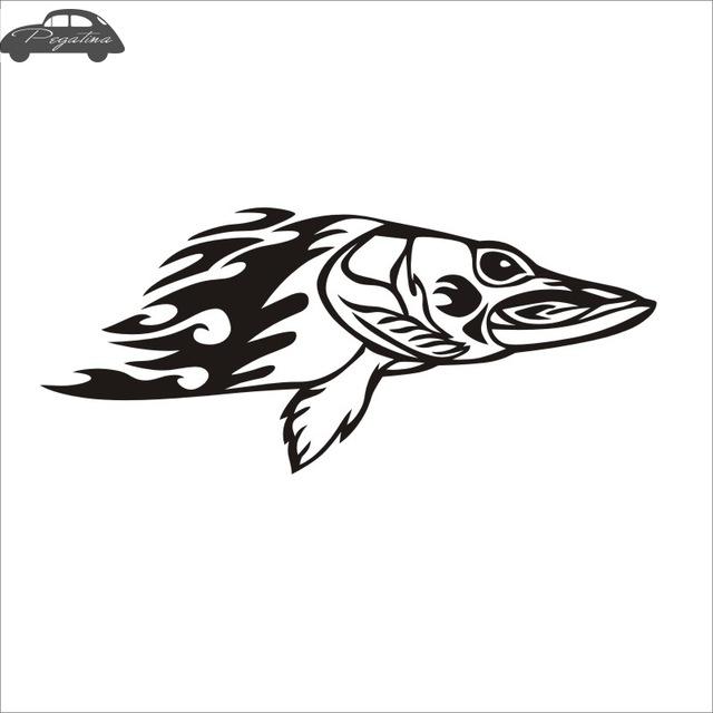 640x640 Pegatina Esox Fish Dogfish Car Decal Pike Posters Boat Decals