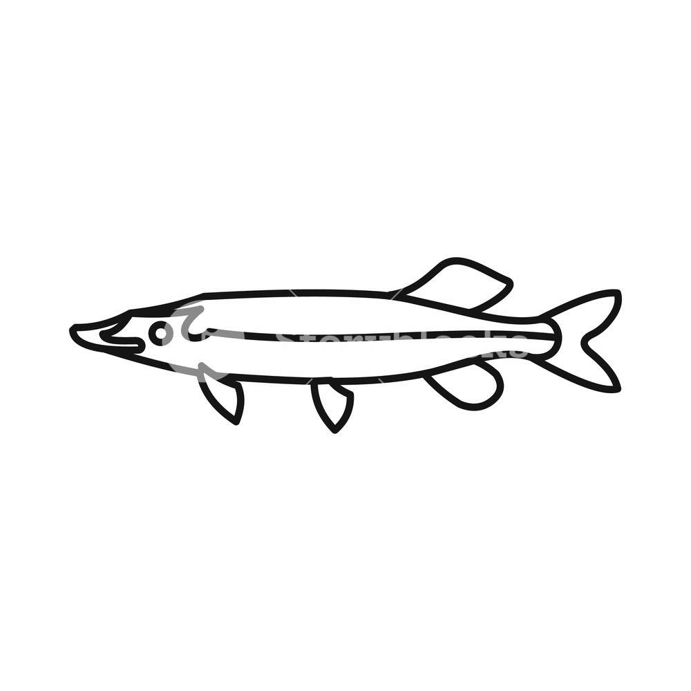 1000x1000 Saury Icon In Outline Style Isolated Vector Illustration Royalty