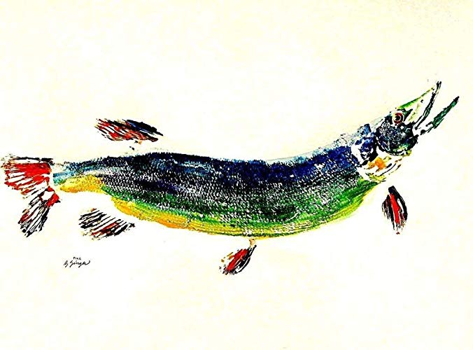 676x500 Great Northern Pike Gyotaku Fish Art Print X